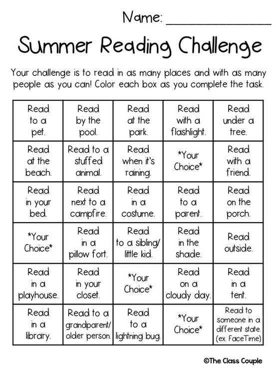 So I Created A Summer Reading Challenge Focusing On In Fun Places With Friends And Loved Ones